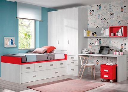 Composición juvenil con cama nido,armario y escritorio